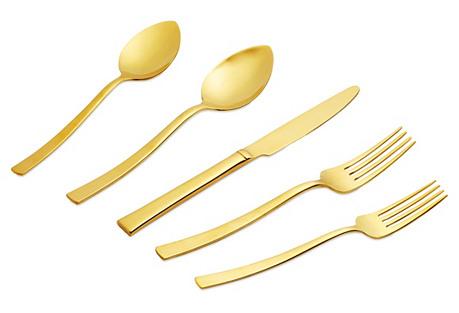 5-Pc Vintage Gold Milano Flatware Set