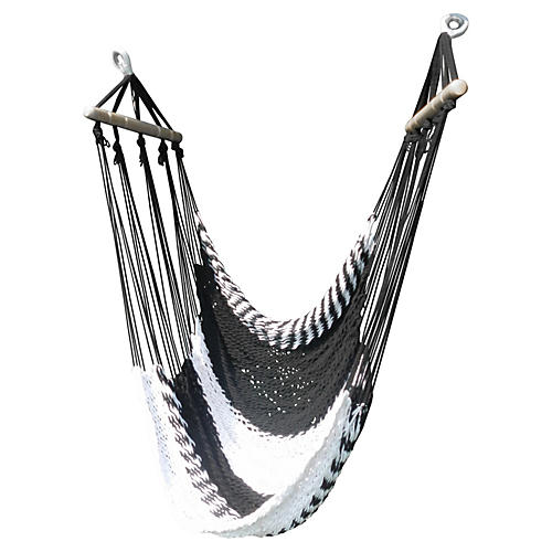 Swinging Hammock Lounger, Black/White