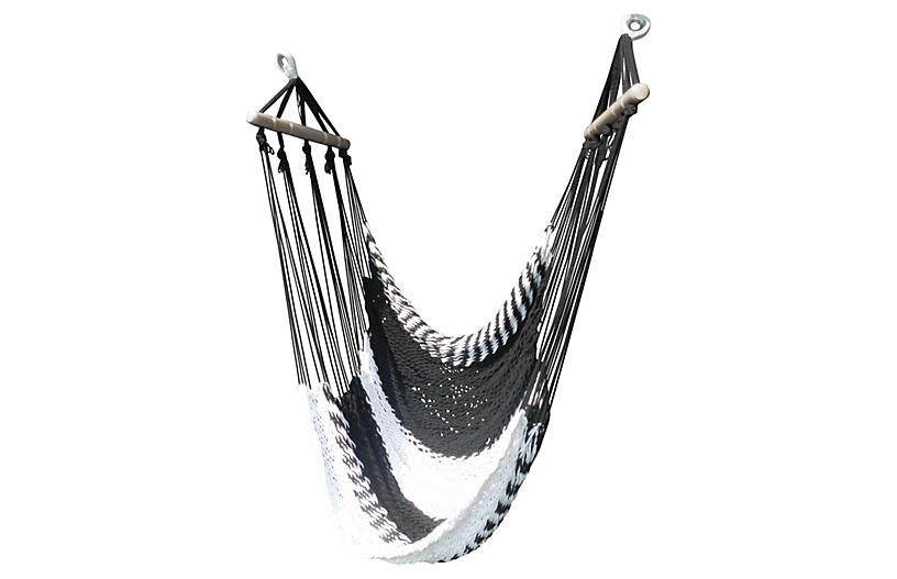 Swinging Hammock Lounger, Black/White