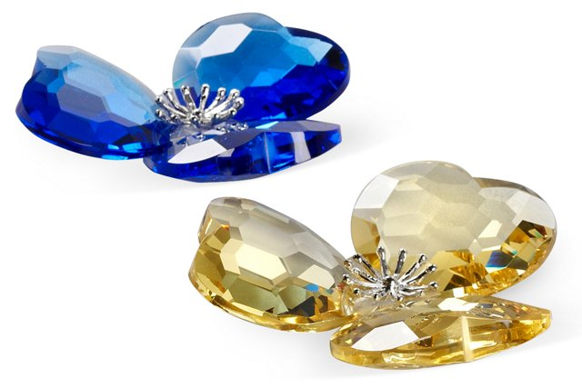 S/2 Crystal Flowers, Sapphire/Gold
