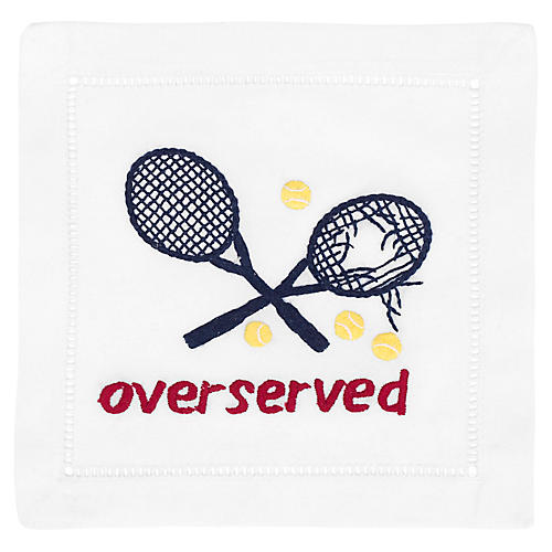 S/4 Overserved Cocktail Napkins, White/Multi