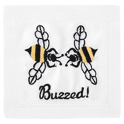 S/4 Buzzed Cocktail Napkins, White/Multi