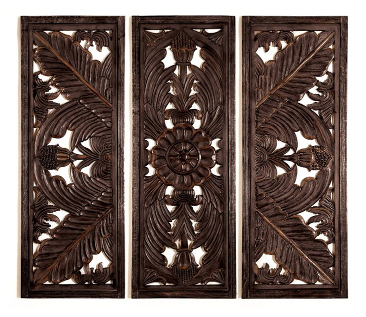 Four Feathers Wall Panels, Set of 3