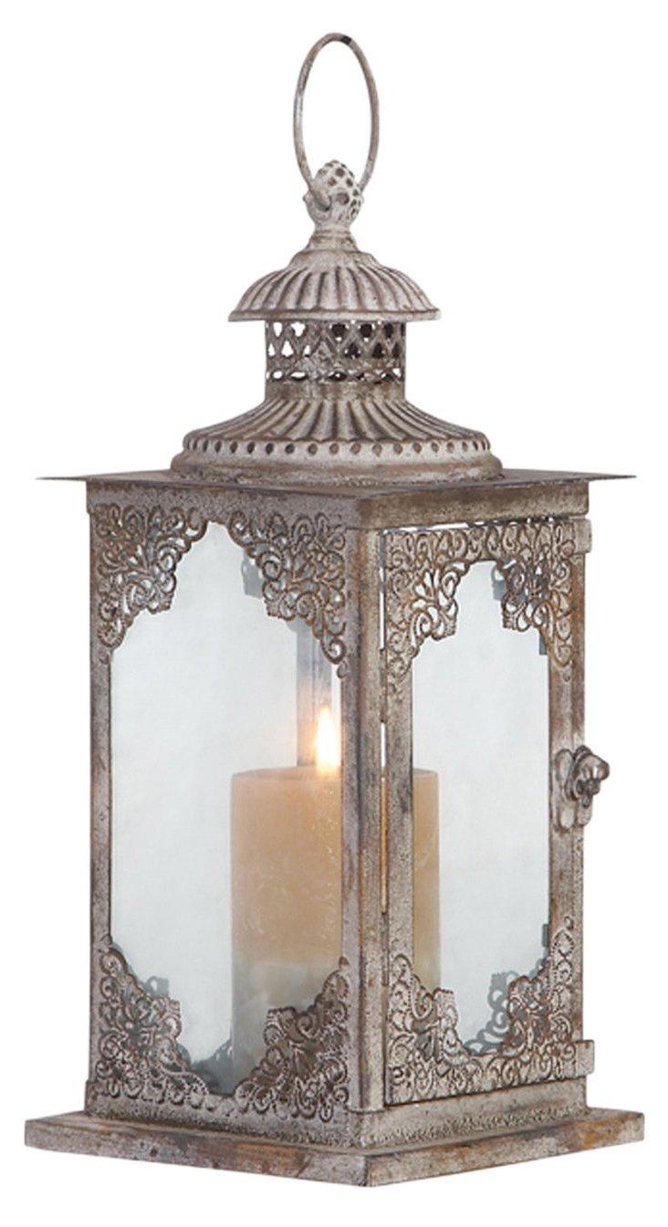"13"" Damask Glass Lantern"