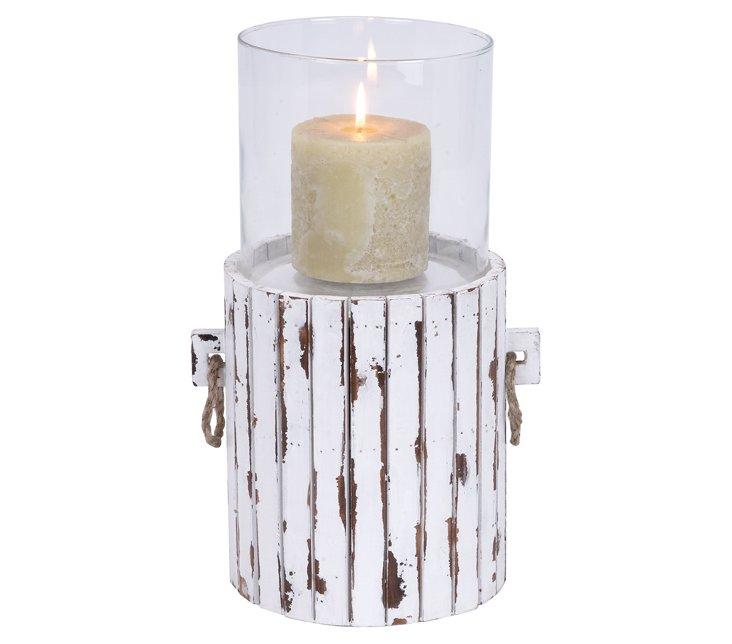 """16"""" Whitewashed Wood Candleholder"""