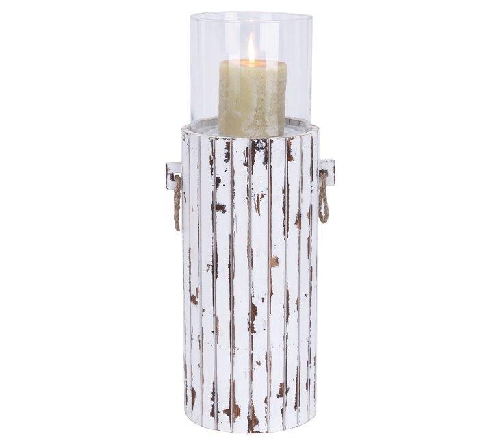 """24"""" Whitewashed Wood Candleholder"""
