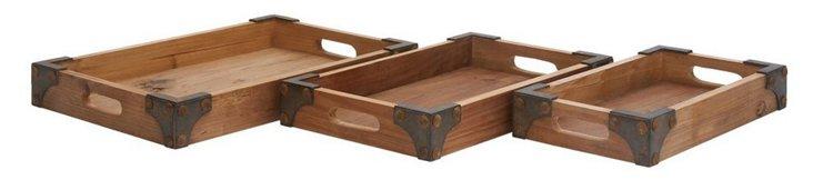 Asst. of 3 Wood Trays w/ Metal Caps