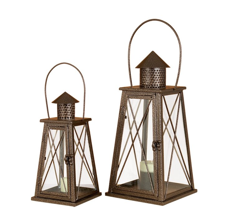 Metal Lanterns w/ Chimneys, Asst. of 2
