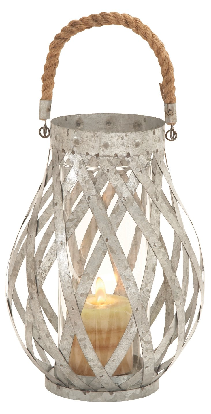 "12"" Metal & Rope Candleholder, Silver"