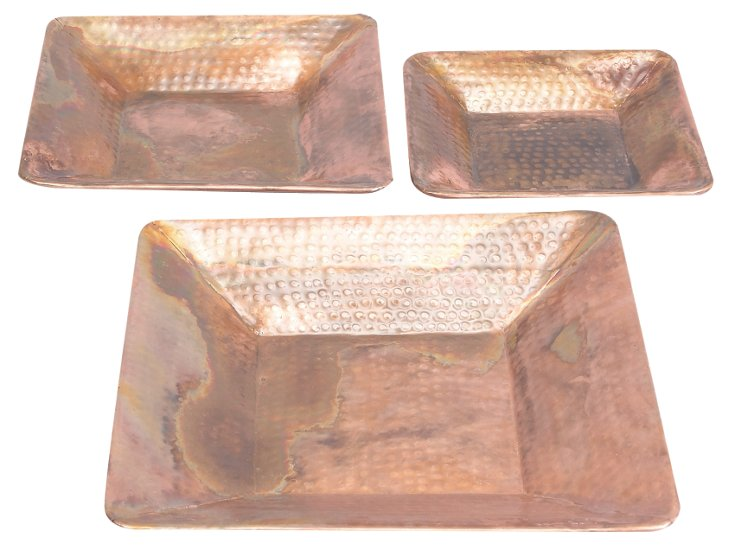 Hammered Copper Trays, Asst. of 3