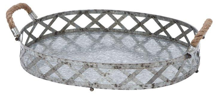 "18"" Woven Galvanized Tray, Silver"