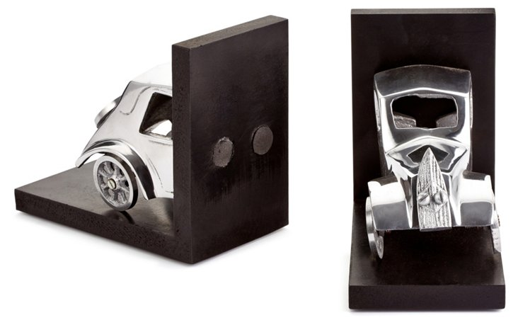 Pair of Chitty Bookends, Silver/Black