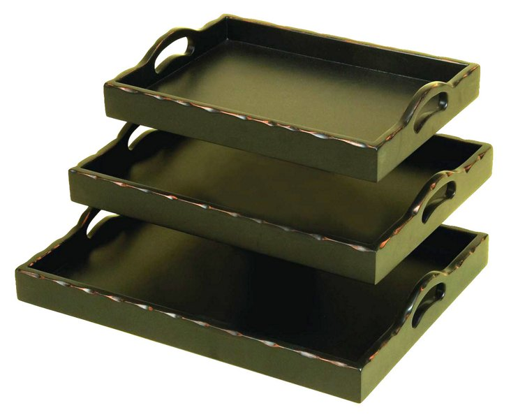Sea-Green Trays, Asst. of 3