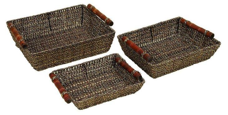 S/3 Sea Grass Trays w/ Wood Handles