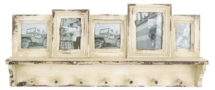 Weathered Wall Shelf w/ Hooks & Frames