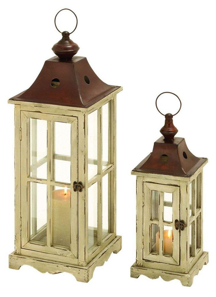 Asst. of 2 Gazebo Lanterns, White/Brown