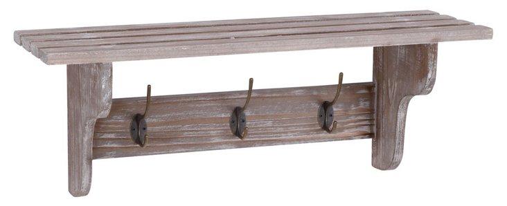Charles Wooden Wall Shelf w/ Hooks