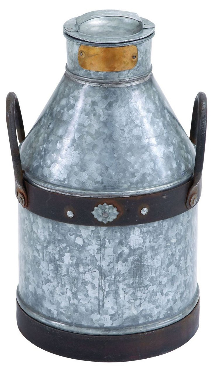 "17"" Galvanized Milk Can"