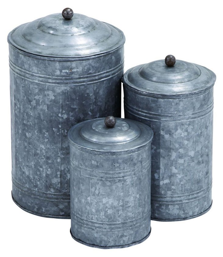 Slim Galvanized Canisters, Asst. of 3