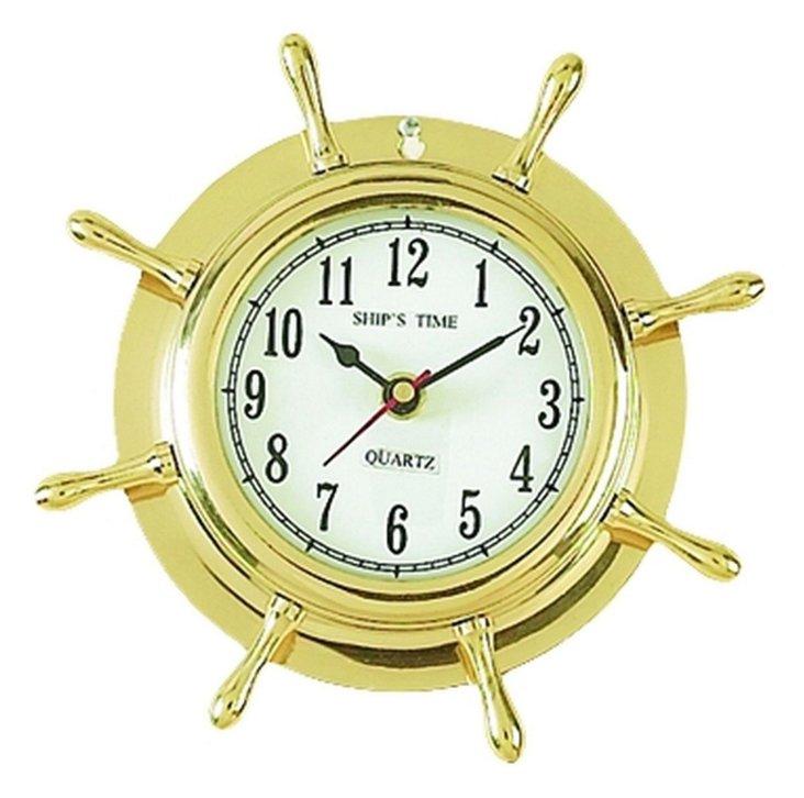 Brass Ship Wheel Clock