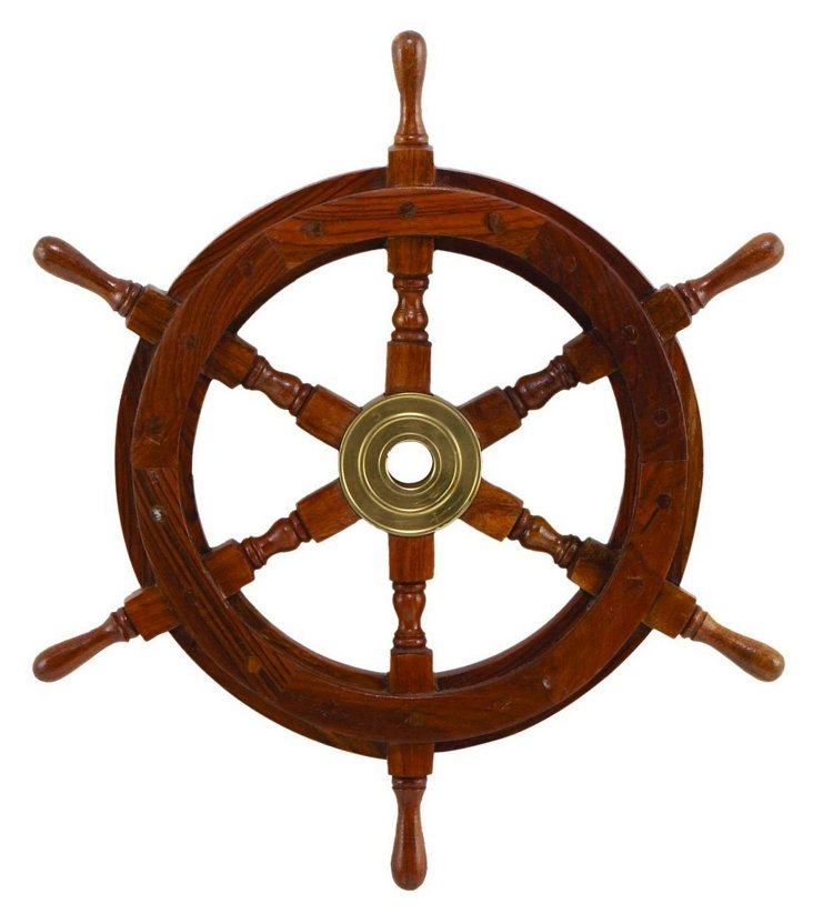 "18"" Ship Wheel Decor, Brown"