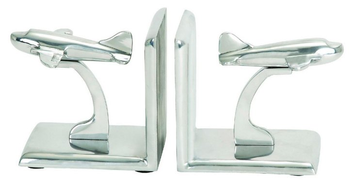 Pair of Plane Bookends, Silver
