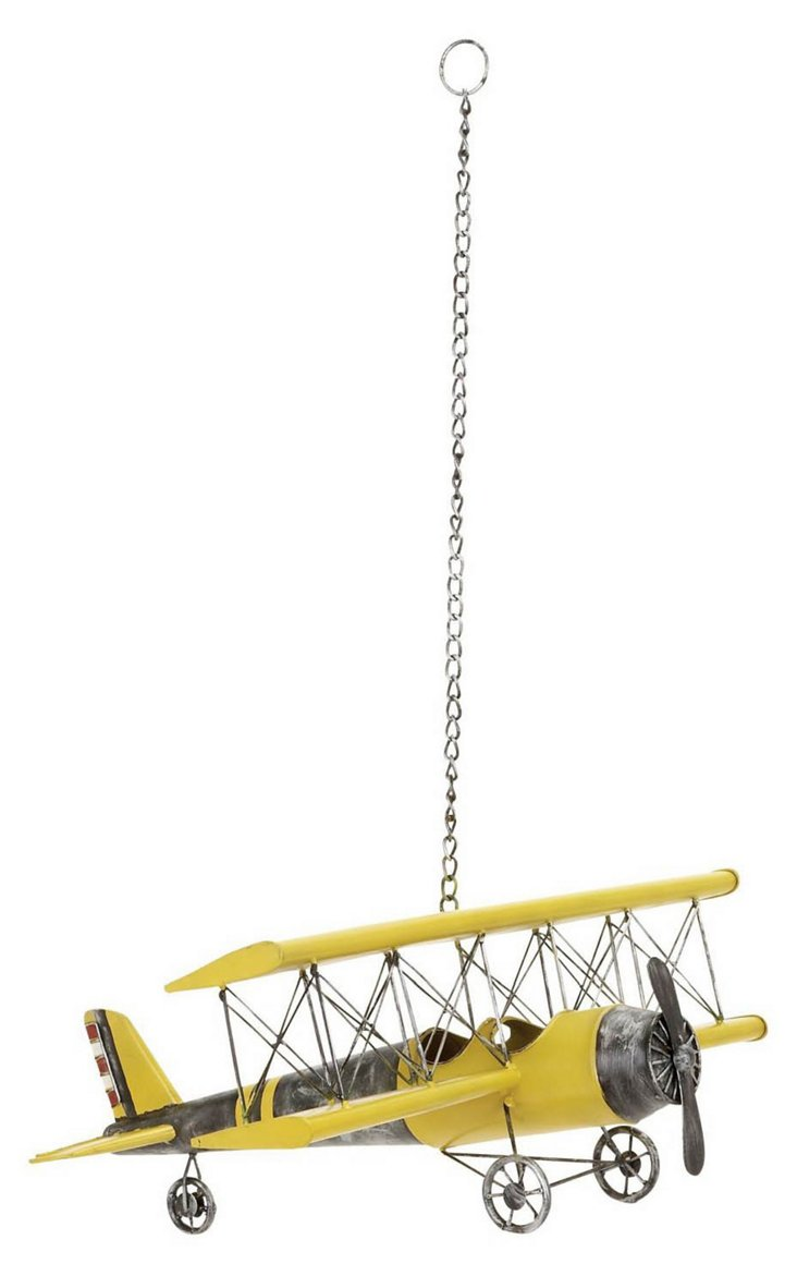 Hanging Plane Figurine, Yellow