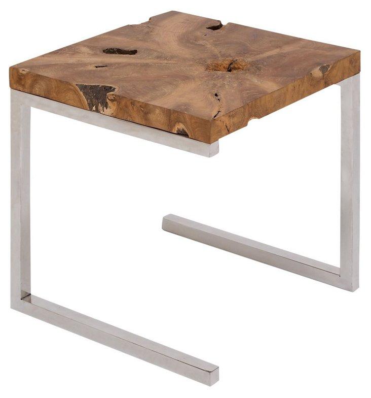 Preston Side Table, Chestnut/Silver