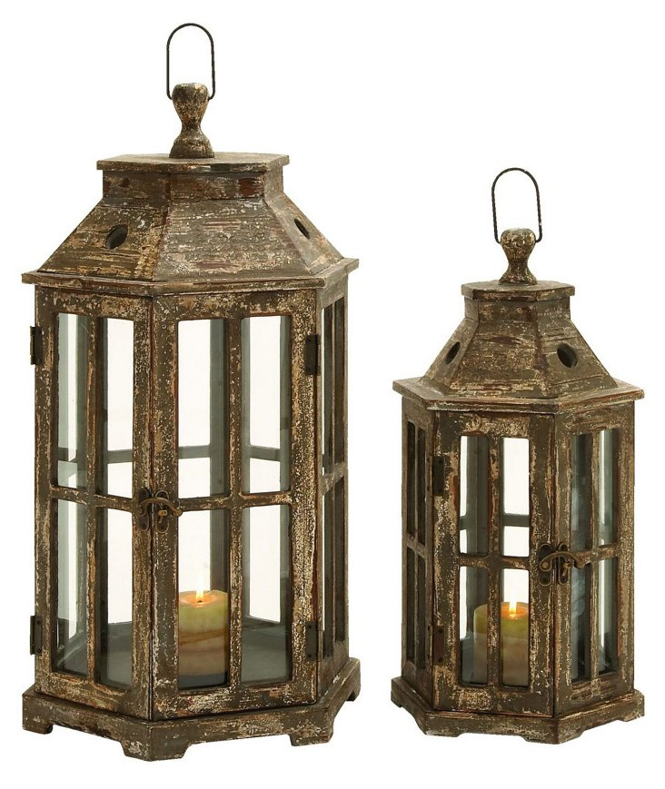 Asst. of 2 Chateau Lanterns, Brown