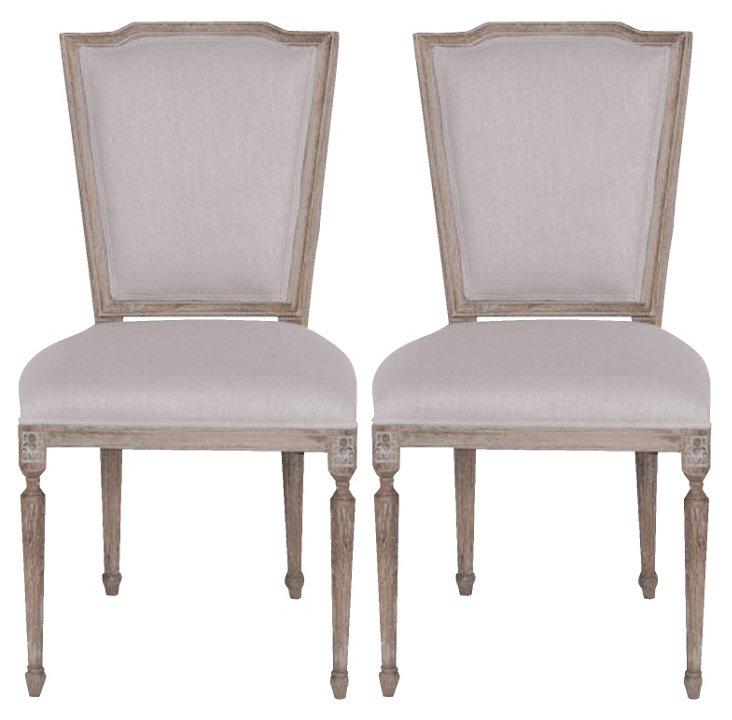Beige Penelope Side Chair, Pair