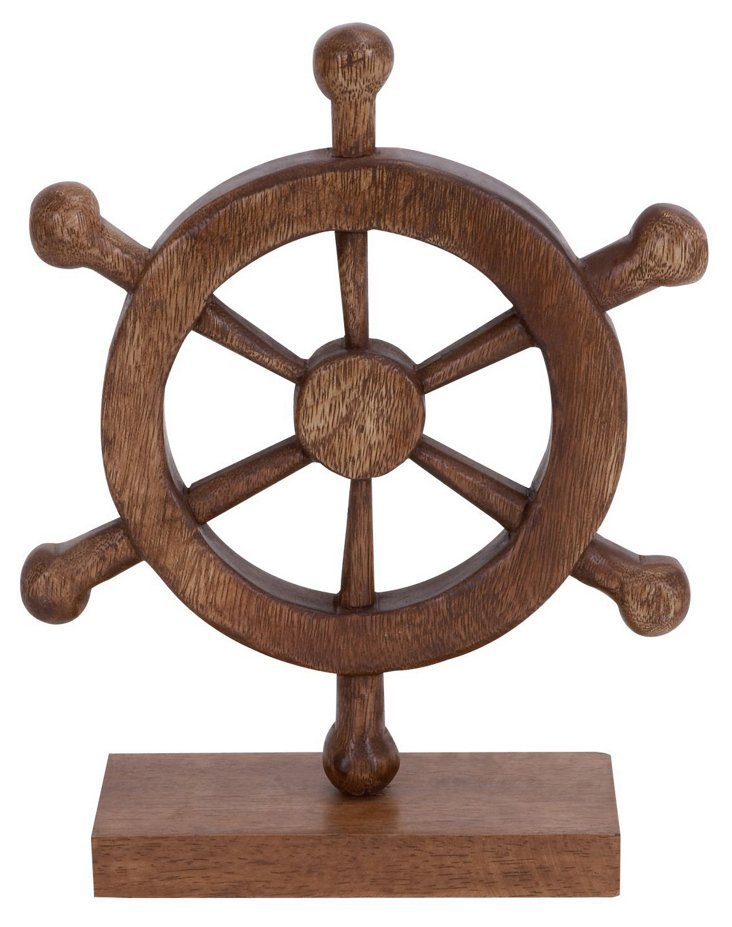 "13"" Wood Ship Wheel"