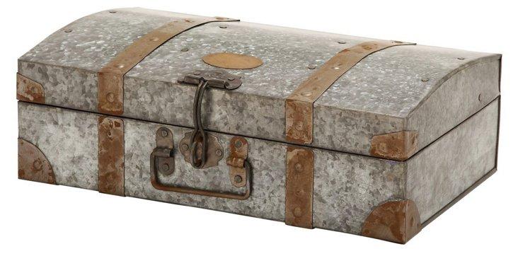 """15"""" Galvanized Box, Silver/Brown"""