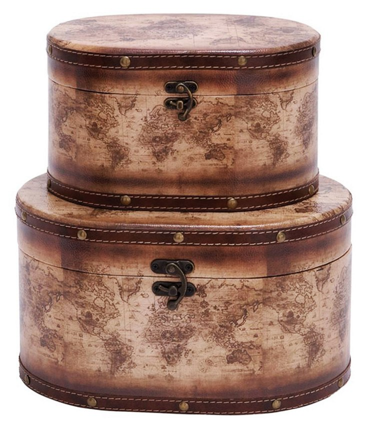 Atlas Leather Boxes, Asst. of 2