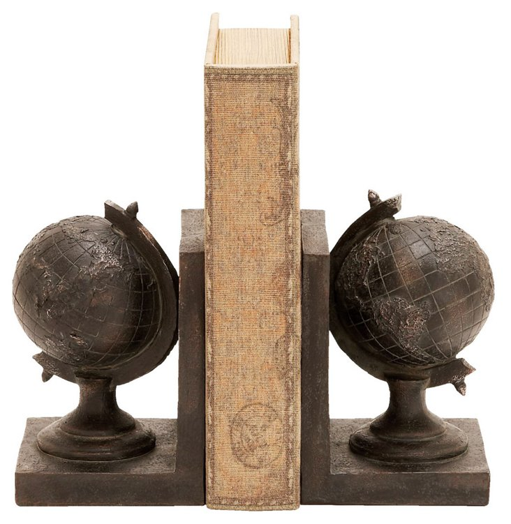 Pair of Noir Globe Bookends