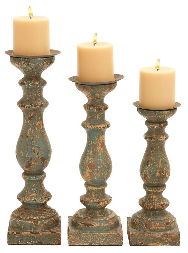 S/3 Wooden Candleholders, Green