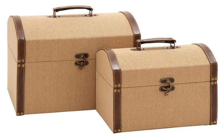 Asst. of 2 Wood & Leather Boxes
