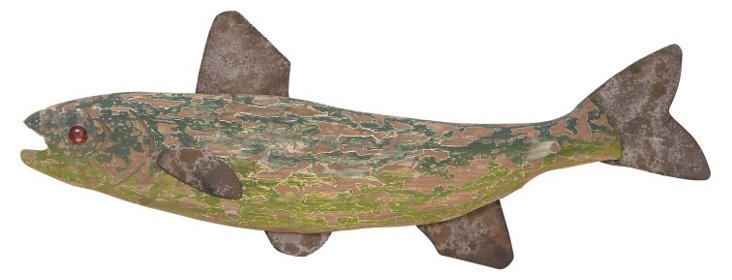 "30"" Weathered Fish Wall Decor"