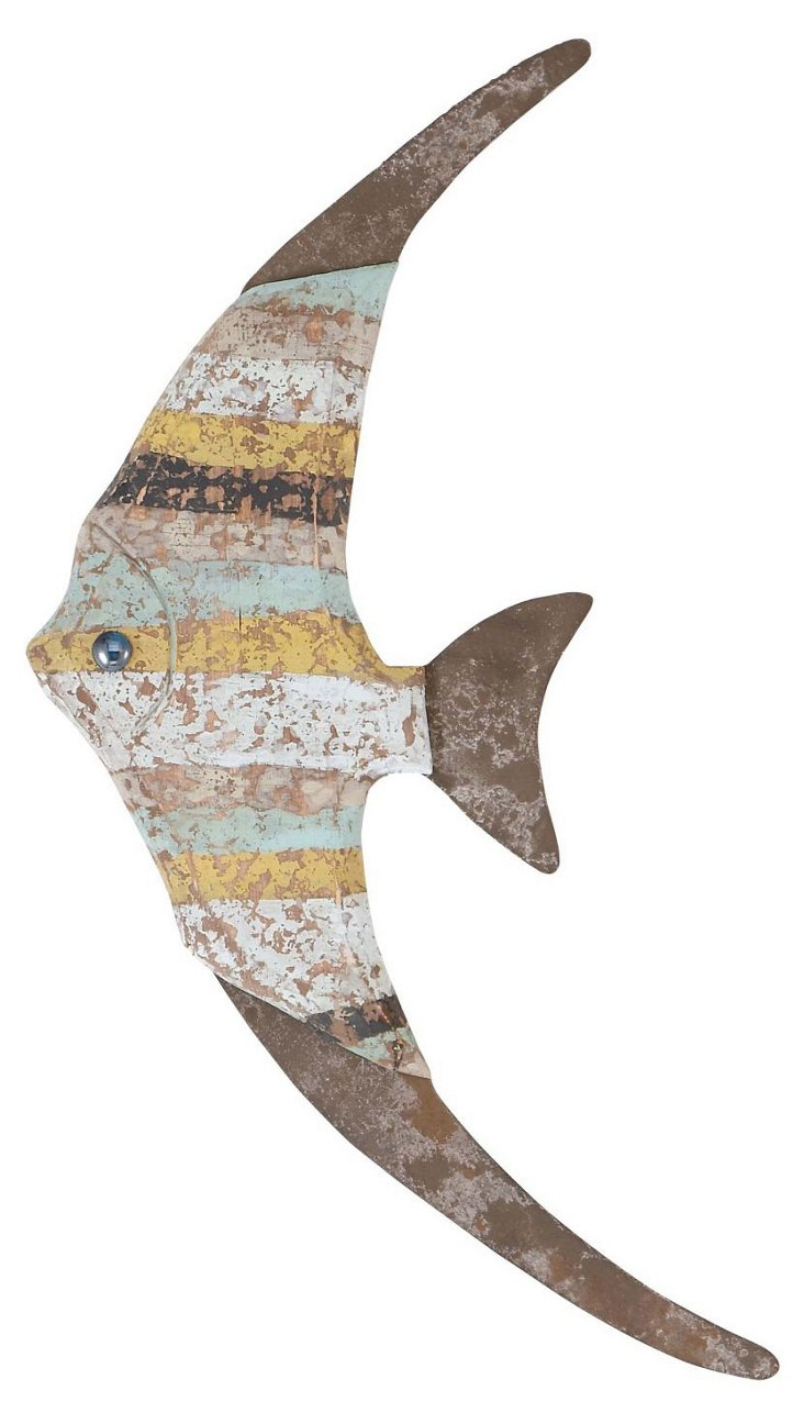 Weathered Multi-Colored Fish Wall Decor