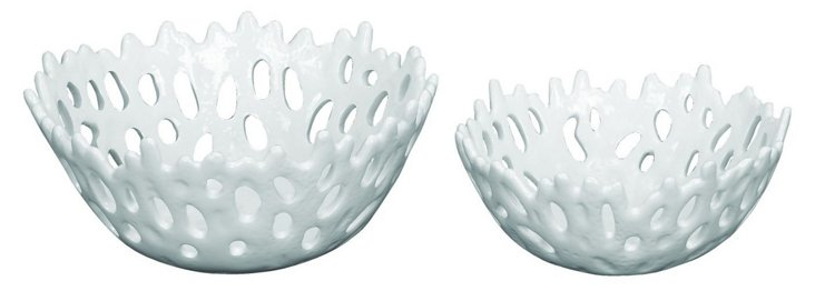 Asst. of 2 Pierced Coral Bowls, White