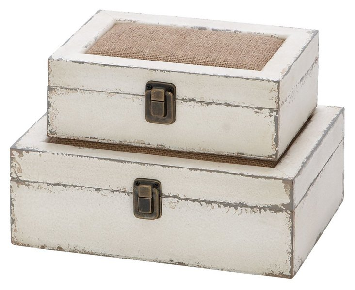 Asst. of 2 Burlap & Wood Boxes, White