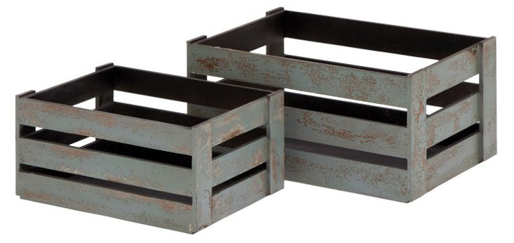 Asst. of 2 Wood Crates, Weathered Green