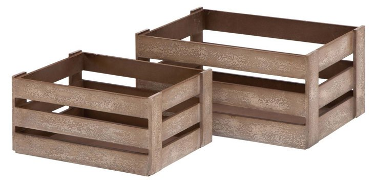 S/2 Assorted Wood Crates, Brown
