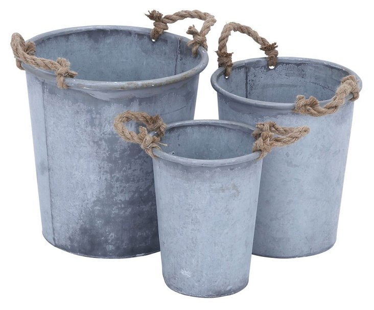 Galvanized Rope Bins, Asst. of 3