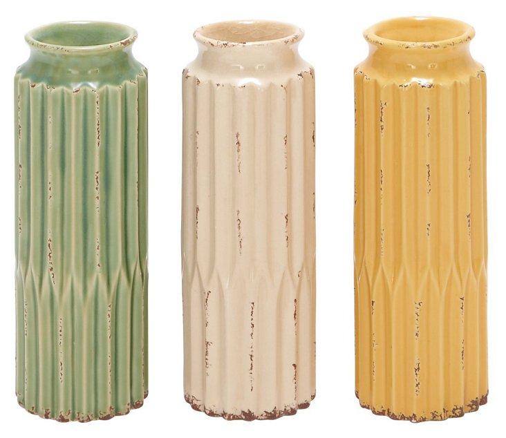 Ceramic Ribbed Vases, Asst. of 3