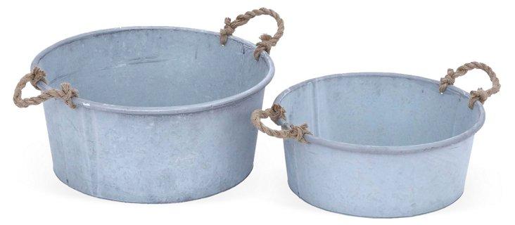 Asst. of 2 Galvanized Rope Buckets