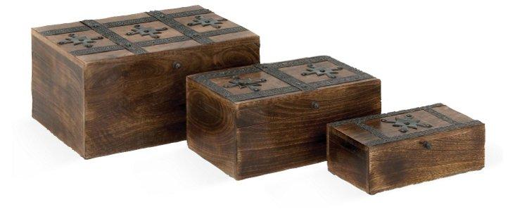 Asst. of 3 Wood & Metal Boxes, Brown