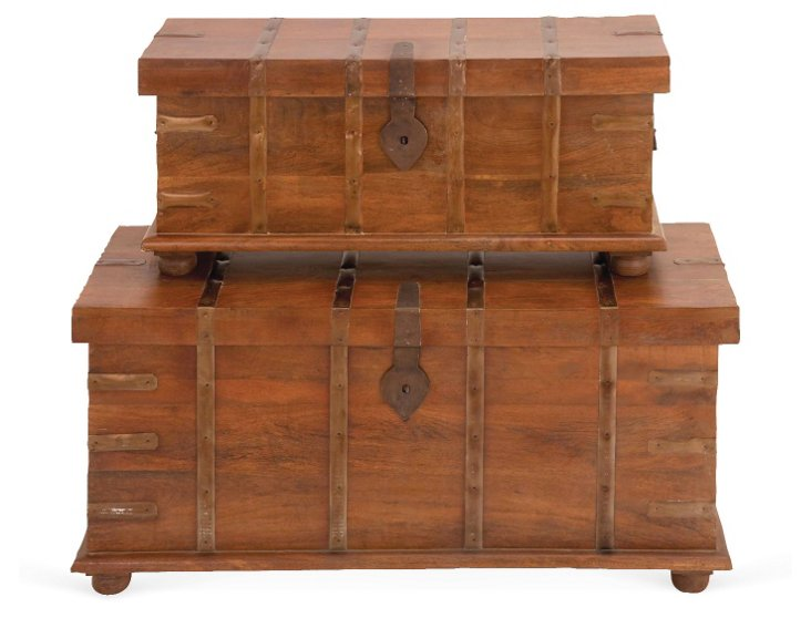 Asst of 2 Wood Braced Chests