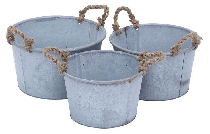 Asst. of 3 Galvanized Rope Buckets