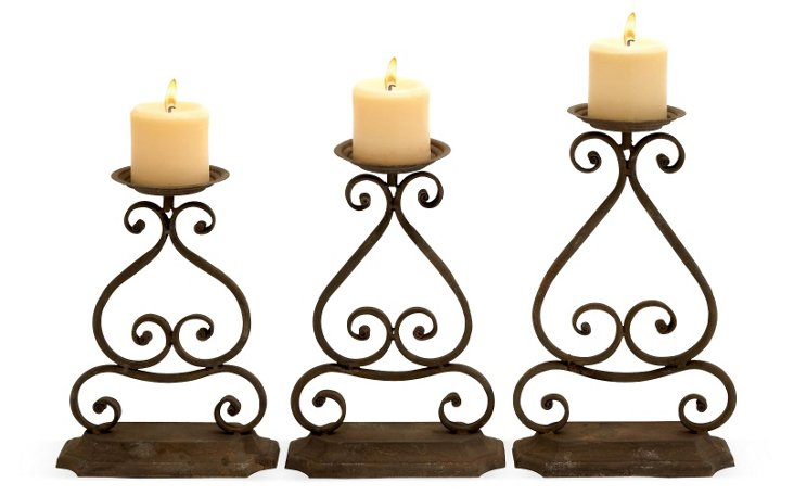 Scroll Metal Candle Holders, Asst. of 3