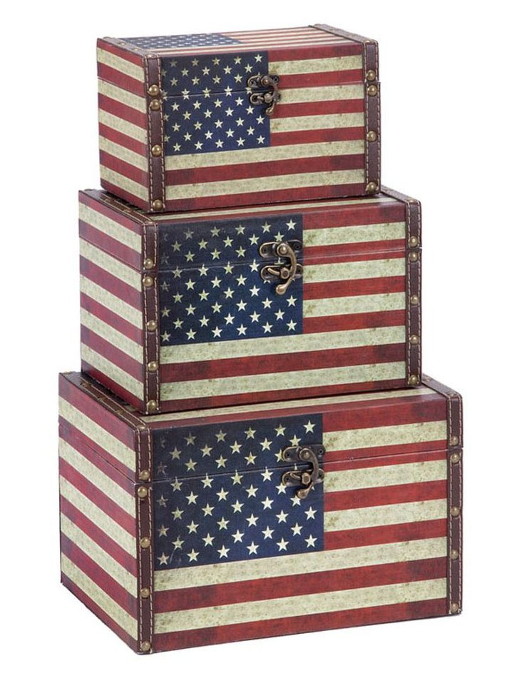 American Flag Boxes, Asst. of 3